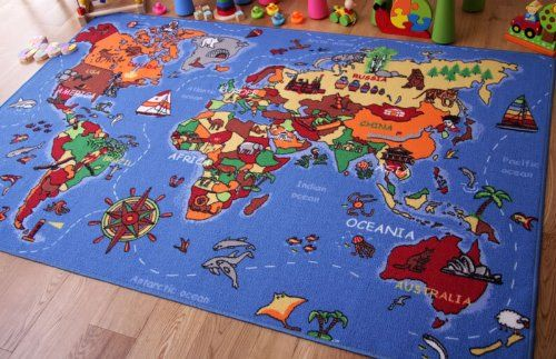 Educational FUN Colorful World Map Countries  Oceans Kids Rugs from The Rug House  Gifts for