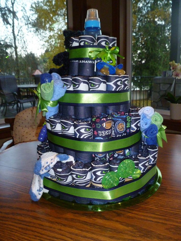 Back of the Seahawk Diaper Cake can tuck just about