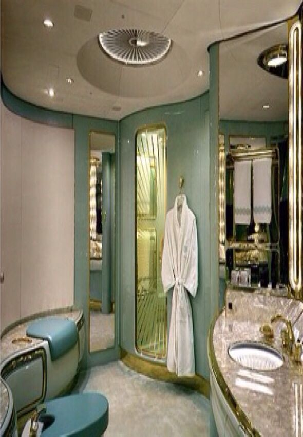 Luxury bathroom in a private jet  Luxury Lifestyle