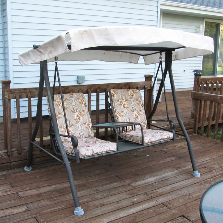 outdoor rocking chair covers tall folding menards 2 seat style sienna swing canopy and cushion replacement | refurbish your patio ...