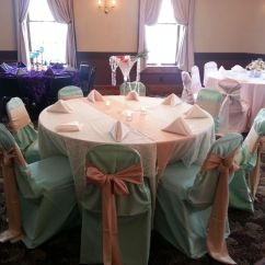 Burlap Chair Covers Ideas Eames Lounge Cushions Replacement Mint Green Table Cloth With An Ivory Lace Overlay, Also Includes A Runner And ...