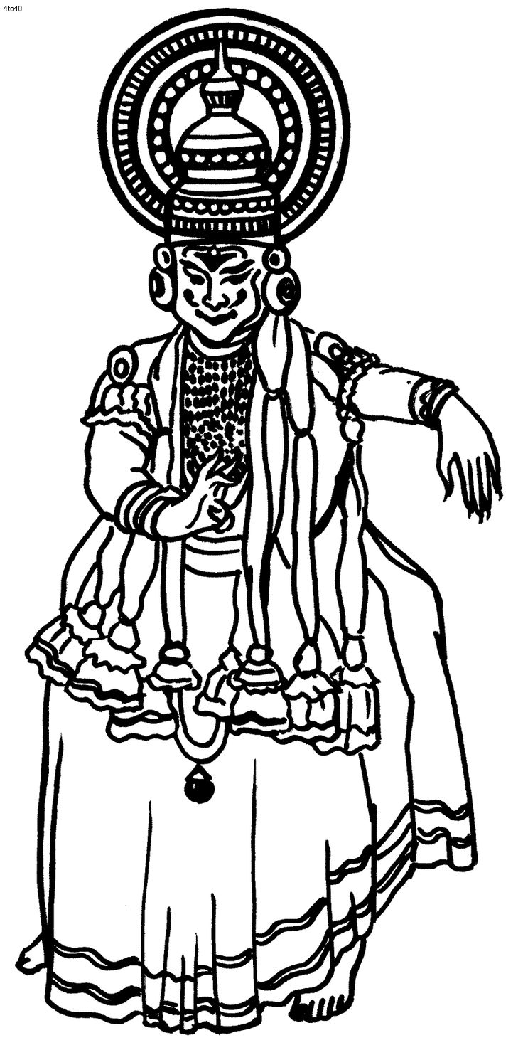 Folk Dances of India Coloring Pages, Kathakali Coloring
