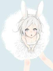 anime girl white hair short