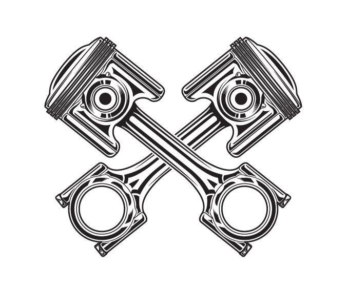 Line art vector illustration of a motorcycle piston