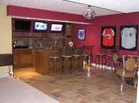 Basement sports bar with hardwired disco ball ...
