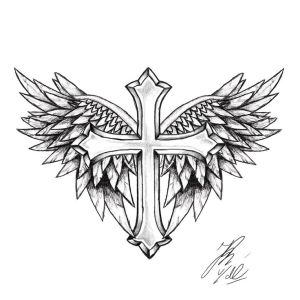 cross tattoo simple wings designs line drawing tattoos religious crosses tatuaggio cruz tatuagem tatuaggi easy masculina wing tatoo getdrawings ornate
