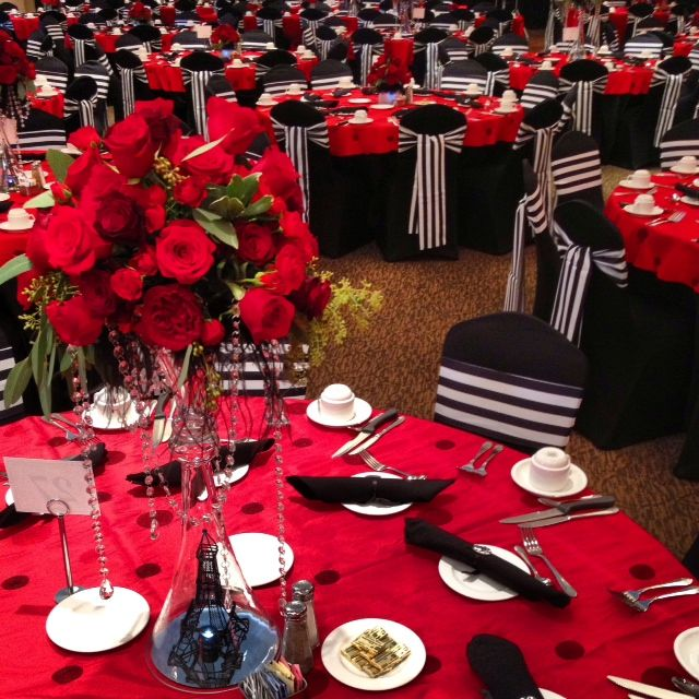 Black Spandex Chair Covers Striped Sashes Table Linens