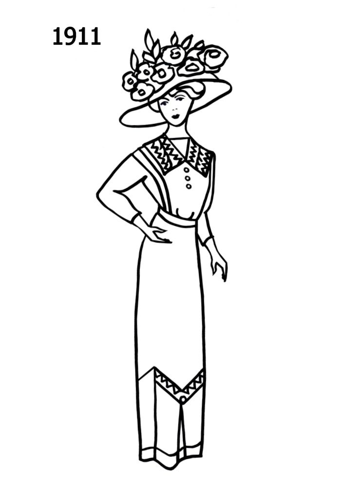 Woman In Edwardian Dress Coloring Page