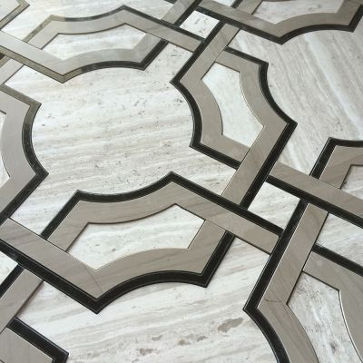 Art Deco Water Jet Mosaic Timber White Marble Athens Gray