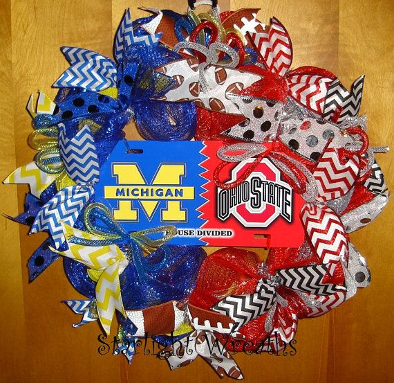 Michigan Vs Ohio State House Divided Mesh Wreath Football
