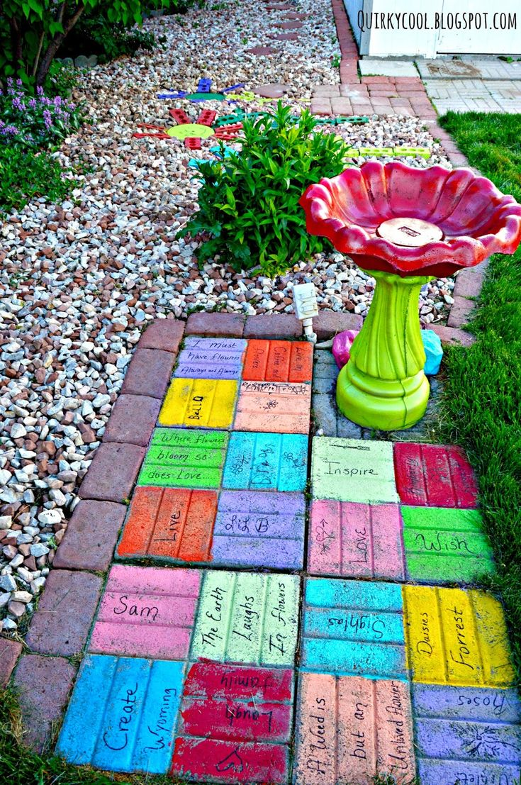Quirky Cool Recycled bricks from an old fireplace turned into colorful yard art  Reusing