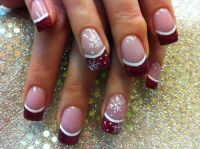 Dark red with snow flakes French tip, good for winter ...