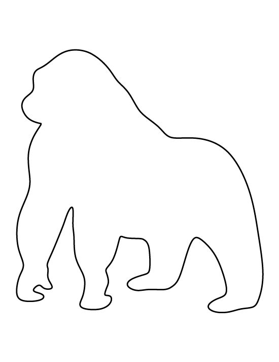 Gorilla pattern. Use the printable outline for crafts