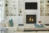 Chic, transitional living room features a sleek white ...