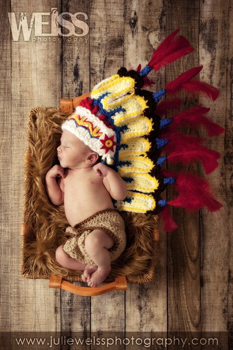 Thanksgiving Indian hatCherokee perfect newborn photo