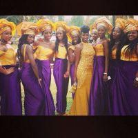 Nigerian wedding. Dark purple and yellow gold. Bride and ...