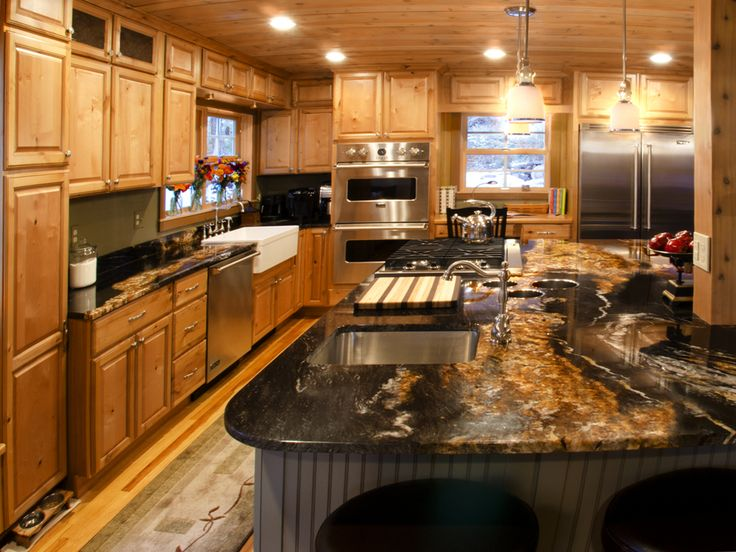 glazed knotty alder cabinets with granite counters  door
