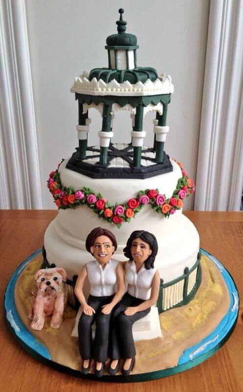 Heather peaces wedding cake including Bungles the dog