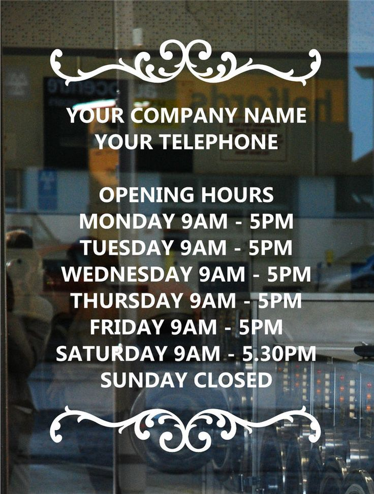 OPENING HOURS TIMES 30cm x 20cm SIGN  SHOP RESTAURANT