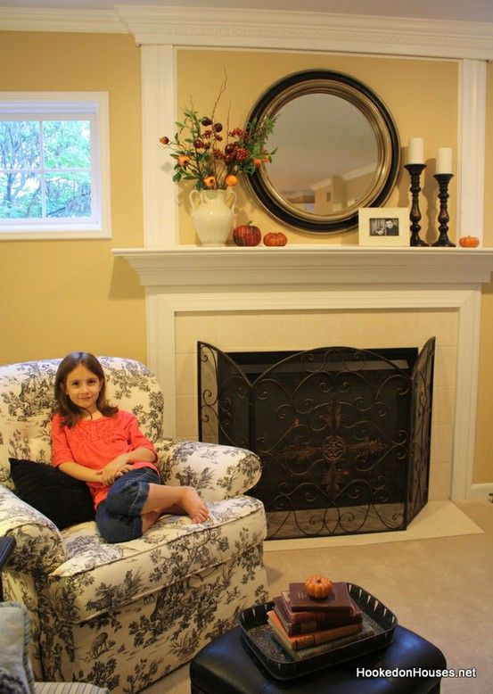 How to Decorate for Fall in 3 Easy Steps  Mantle ideas Round mirrors and Mantles