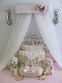 Princess Bed Crown Canopy Crib Baby Nursery Decor Shabby ...