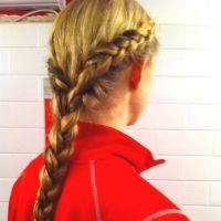 Two outside braids into one normal braided pony! Perfect ...