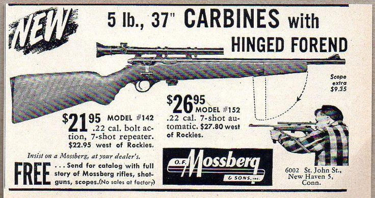 1950 Vintage Ad Mossberg Model 142 Repeater 22 Rifles New HavenCT  Vintage Hunting Ads