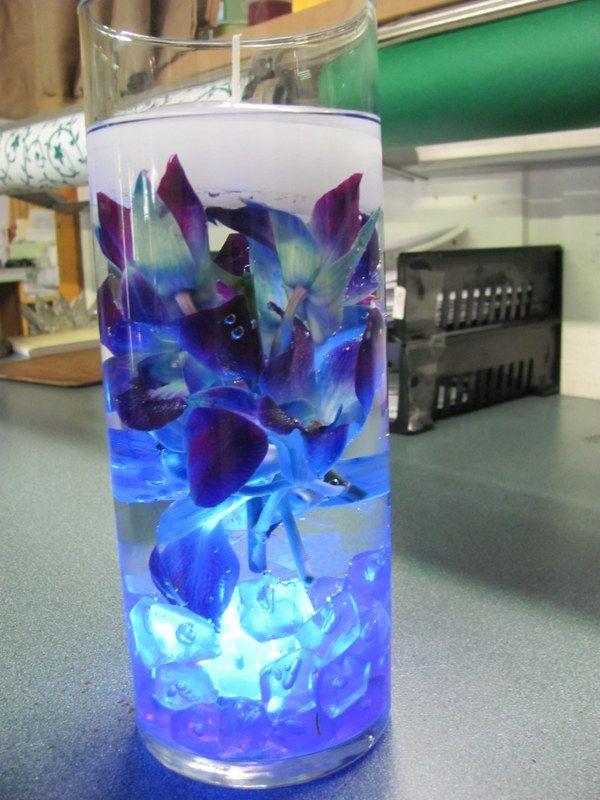 Blue dendrobium orchid centerpiece  Fortinos Flowers wedding creations  Pinterest  Blue