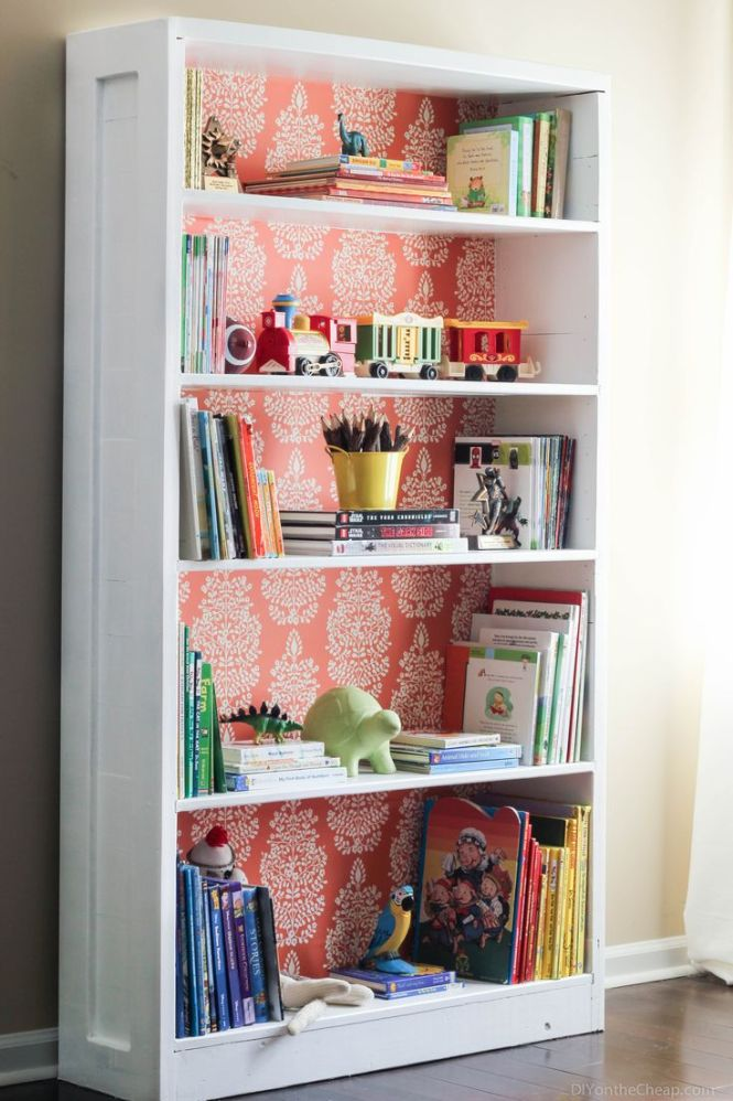 Bookshelf Makeover Using Paint And Removable Wallpaper