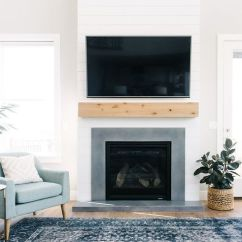 White Living Room Side Table Shelf Ideas Love This Fireplace! The Combination Of Natural Wood ...