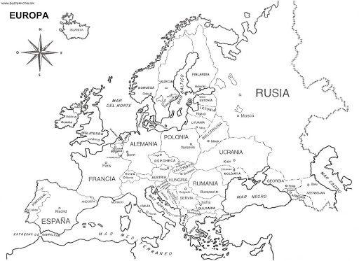 Mapa de Europa para imprimir y colorear. Aprende los