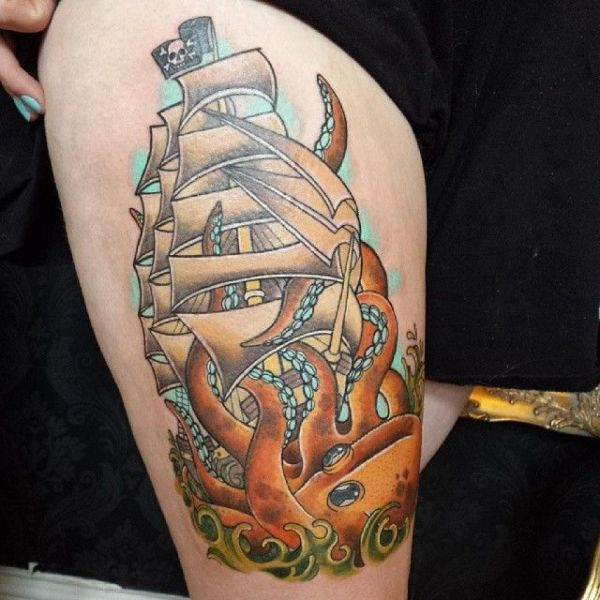 20 Chinese Pirate Ship Back Tattoos Ideas And Designs