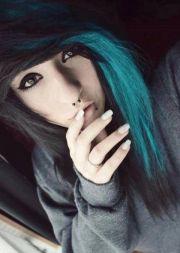 scene girl with black & turquoise