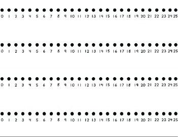 Number lines from 0 to 25 (there are 4 on a page). Print