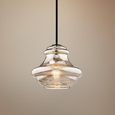 Kichler Everly Mercury Glass 12 Quot W Olde Bronze Mini Pendant
