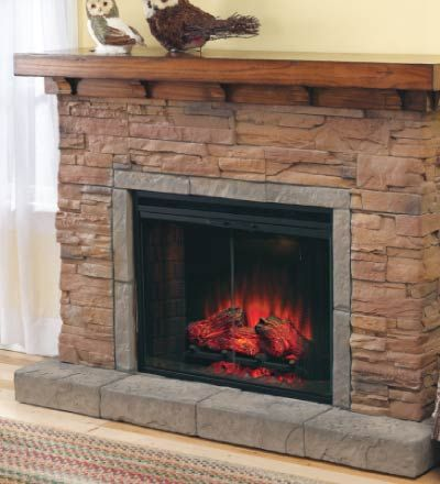 Stacked Stone Electric Fireplace  I like the clean yet rustic look of this one  Decorating