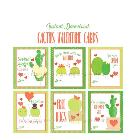 Cactus Valentines Day Cards Succulant Love Instant