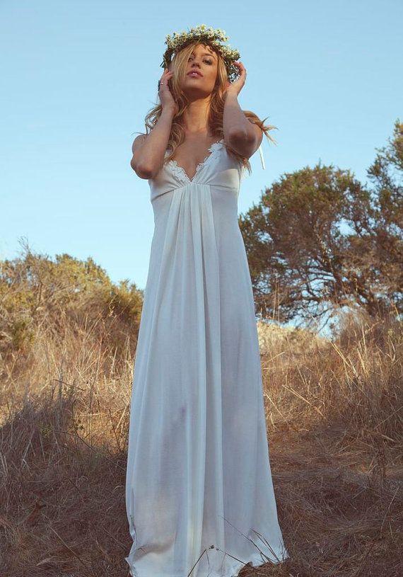 Vintage Wedding Gown Dress 70s Hippie Bohemian Flower