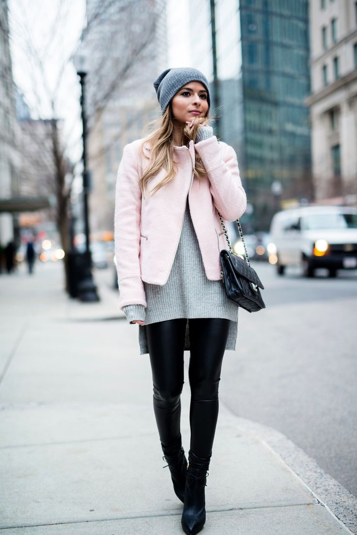 Faux Leather Leggings and Black Booties  Cold weather