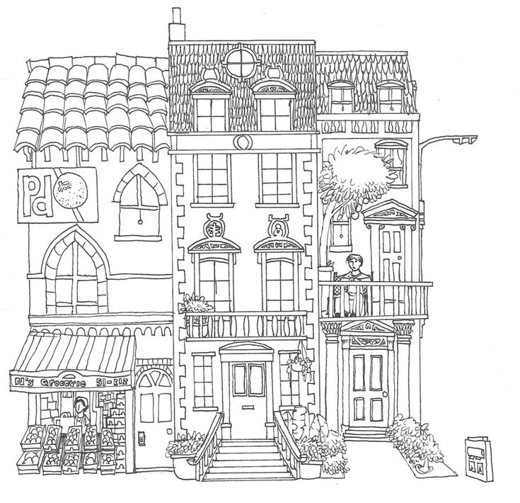 10+ images about Adult Colouring~Buildings~Houses