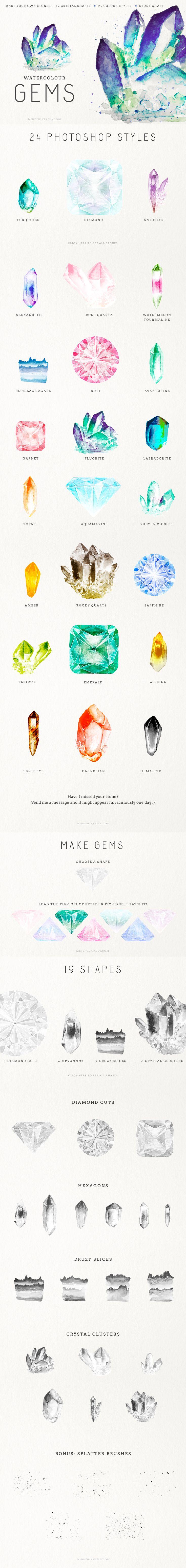 Gem Creator Kit Watercolor Crystal Clusters Clip Art Wedding Invitation Pocket Scrapbooking / Project Life / Journaling / Memory