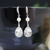 Swarovski crystal with pearl Bridal Earrings - Earrings ...