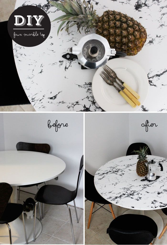 Cheap Coffee Tables Diy: Faux Marble Table Top | Contact Paper, Marbles And Paper