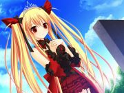 luna-freed-quee-girl-ribbons-sky-anime-girl-blonde-hair-orange-eyes-twintails-red-dress-blue-sky