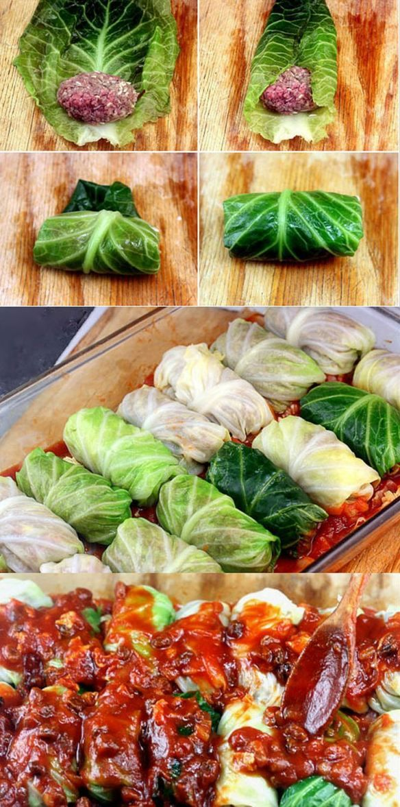 Amazing Stuffed Cabbage Rolls. Tender leaves of cabbage stuffed and rolled with beef, garlic, onion and rice, simmered in a rich
