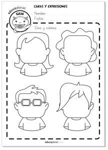 Ficha caras emociones personajes dibujar ficha aula GRATIS