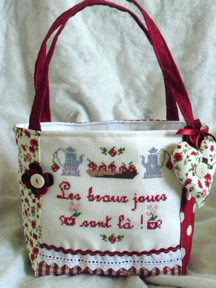 Petit SAC Panier LES Beaux Jours Sont L Broderie Point DE Croix  eBay  Bolsas Patch