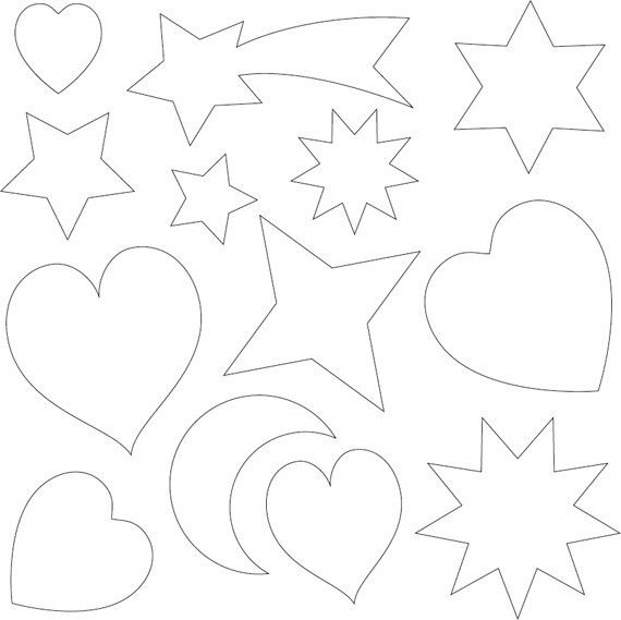 Templates for applique, various shapes, hearts, moon