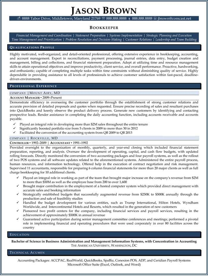sample resume for construction bookkeeper