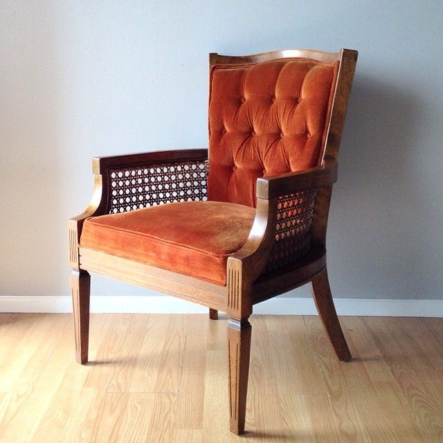 tufted yellow chair zero gravity swing vintage hollywood regency style with cane sides and back in burnt orange / red ...
